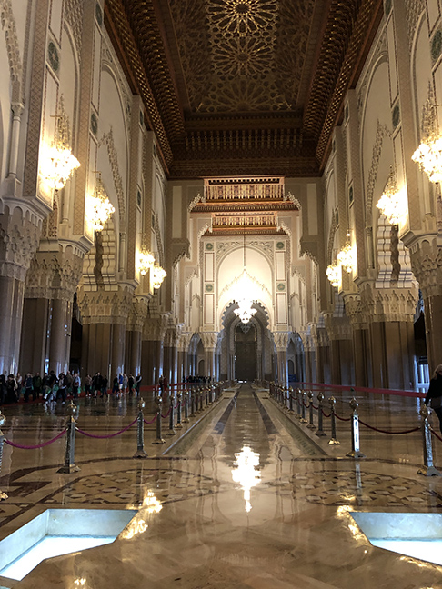 An enormous Mosque seen from the inside.