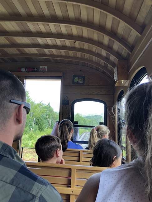 the inside of an old fashioned train with a wooden curved roof with passengers and a view of green and trees in front.